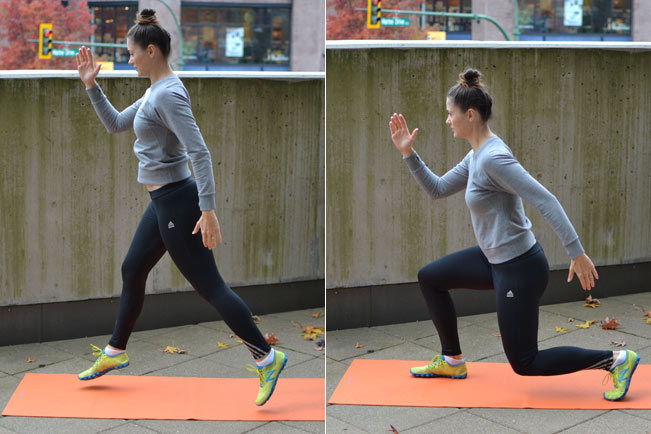 6. Dynamic lunges   *Begin in a lunge position with both knees at 90 degrees. Spring straight up into the air, switching legs at your highest point, and landing softly with both feet at the same time.