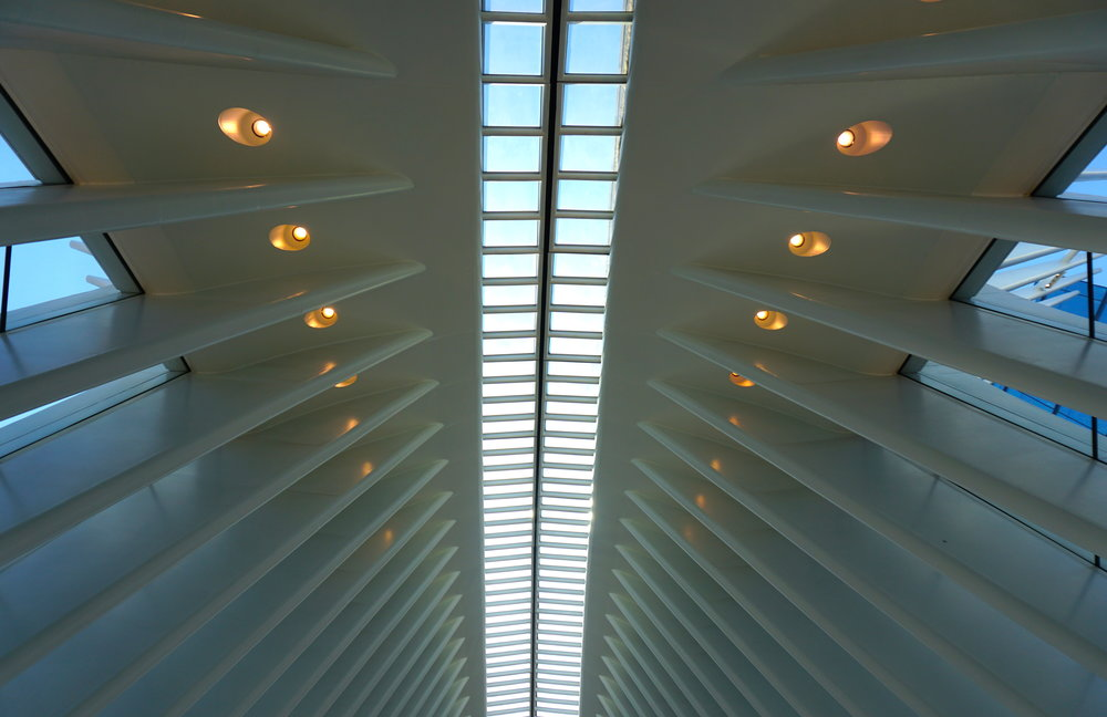 The inside roof of the Oculus, looking up.