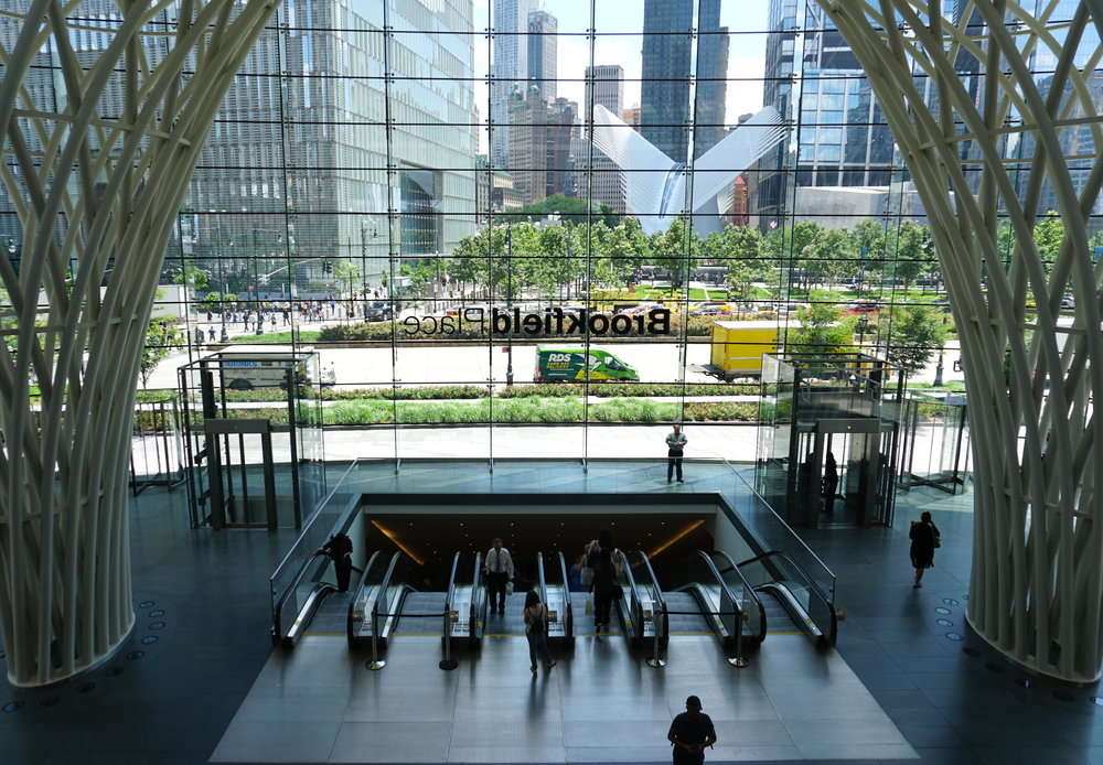 "Just across the street from One World Observatory, find Brookfield Place, a shopping, dining, cultural complex including lux fashion houses, ""it"" brands such as Vince and Lululemon, as well as mouth-watering food halls: Le District and Hudson Eats."