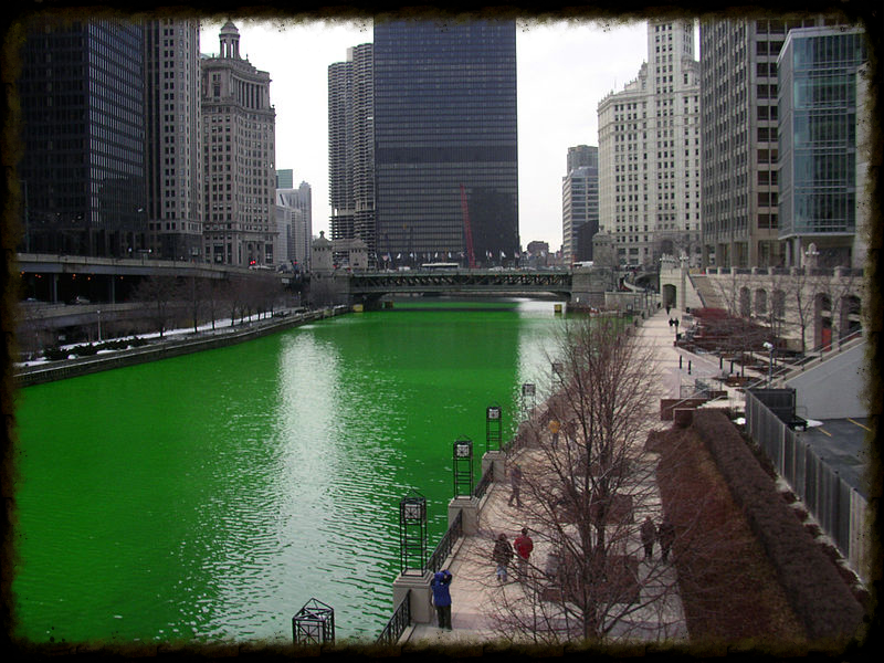 This story was inspired by this photo of the Chicago River on St. Patrick's Day. Photo by Knowledge Seeker, via  Wikimedia Commons .