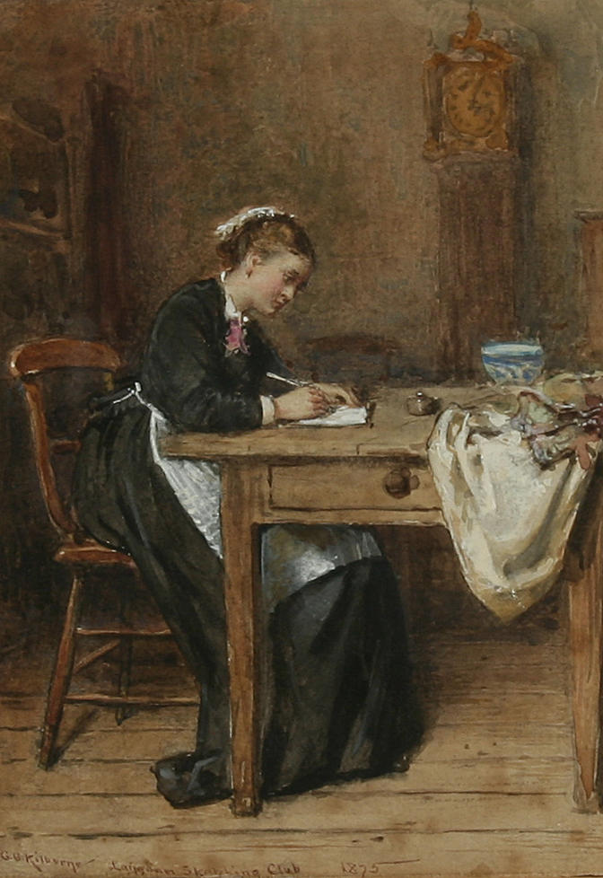 Writing a Letter Home (1875) by George Goodwin Kilburne. Courtesy of Bonhams via Wikimedia Commons.
