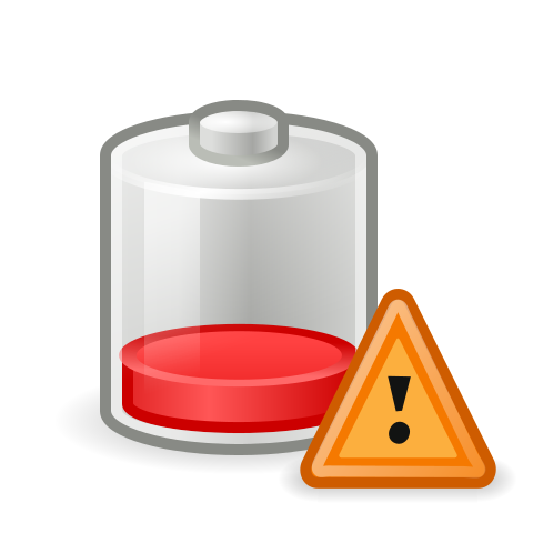 Low battery symbol courtesy of GNOME icon artists via Wikimedia Commons under GNU General Public License.