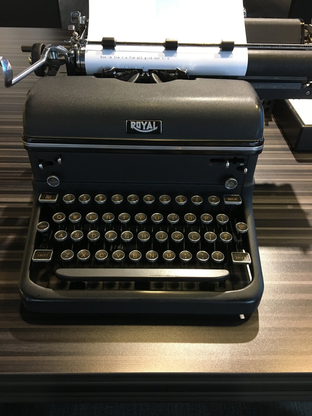 One of the tools on display in the writer's craft section of the museum. Patrons are encouraged to sit and type their own stories.