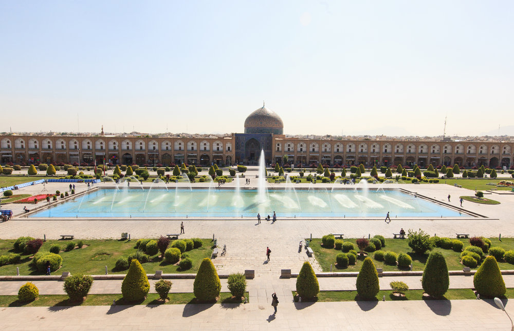 The Shah Mosque and Naqsh-e Jahan Square in Esfahan, Iran, where Esa Khattak spends most of  Among the Ruins . Photo by Murchundra/iStock / Getty Images