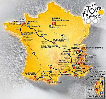 Route Map of the 2013 Tour de France Cycling Race.