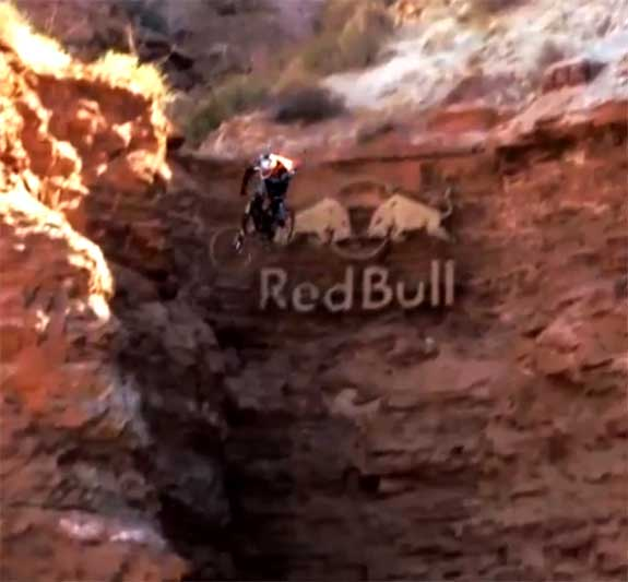A shot from the Red Bull Rampage bike video series
