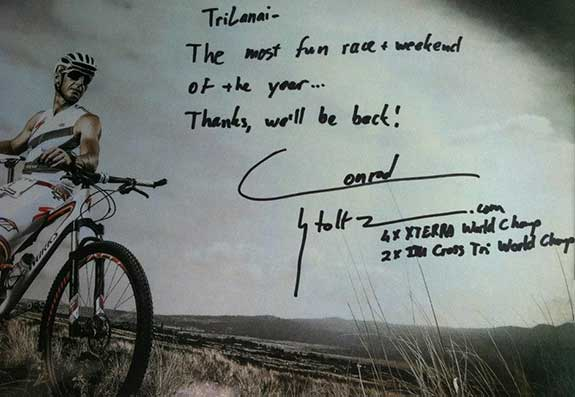 TriLanai triathlon on Maui Specialized bike rider Conrad Stoltz winning msg with autograph