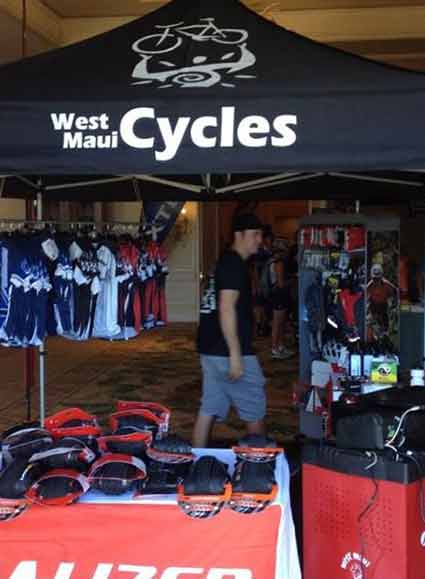 The Athletes expo area and mini bike shop for XTerra World Championship at Kapalua, Maui.