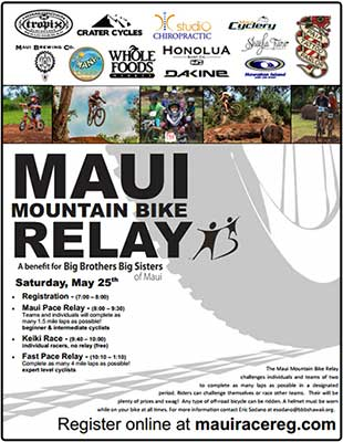 Benefit Big Brothers Big Sisters Maui in the Maui Mountain Bike Relay
