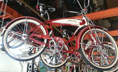 A Vintage Cruiser bike on display at West Maui Cycles Lahaina bike shop.