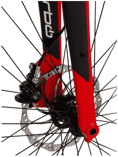 The Specialized Turbo ebike front fork and disc brake system for stopping power!