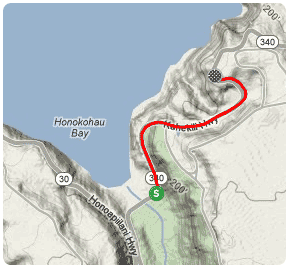 A map image of The Wall section of the West Maui Loop cycling route.