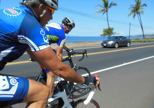 Cycling in West Maui on the weekly group ride.