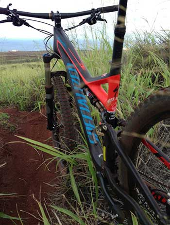 Full suspension mountain bike rental on Maui by Specialized bicycles.