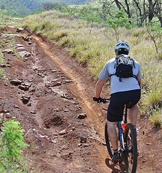 Mountain bike riding on Maui.