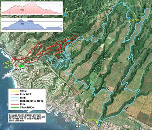 Maui XTerra 2012 world championship course map showing the run, swimming and biking courses.