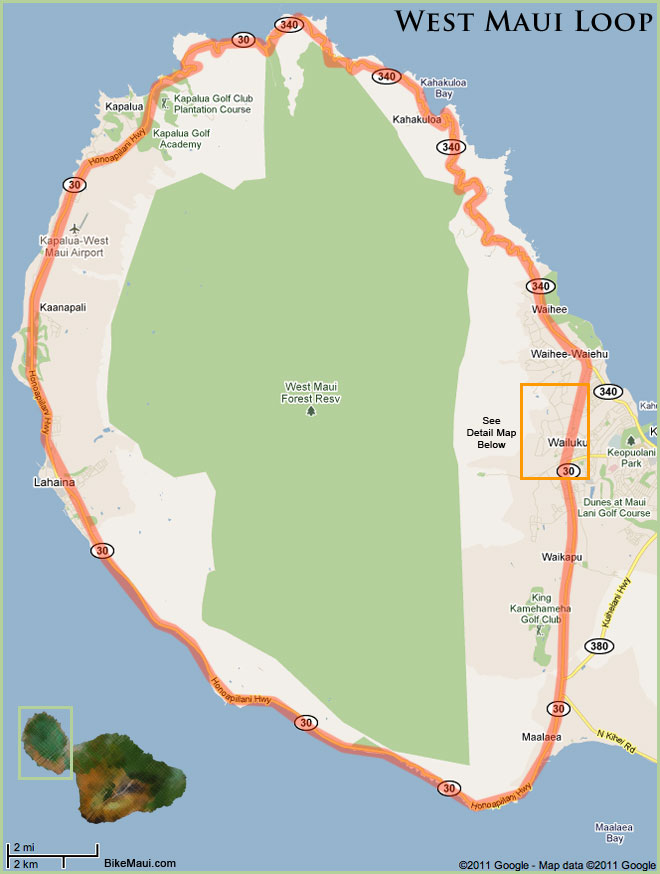 Maui Traffic Map.West Maui Loop West Maui Cycles Maui S Best Bike Shop