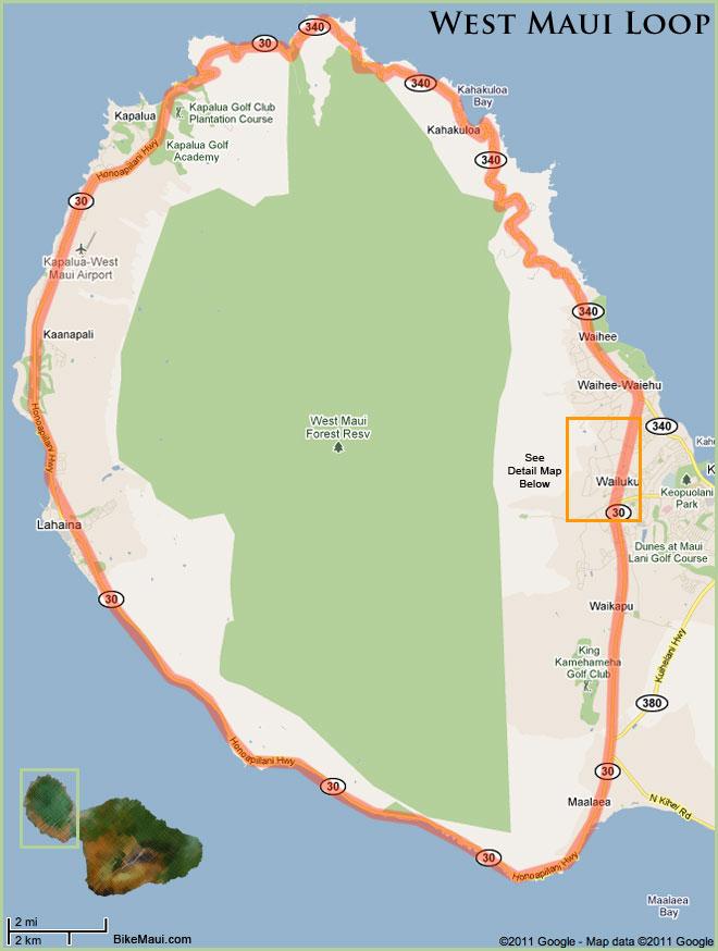 Maui Traffic Map.West Maui Loop West Maui Cycles Maui S Best Bike Shop