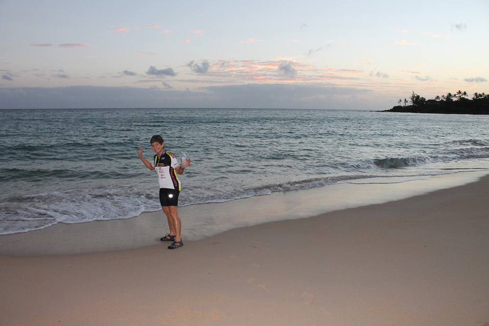 Ellen dipping her toe into the Pacific Ocean early in the morning before the ride on 7/31/2014.