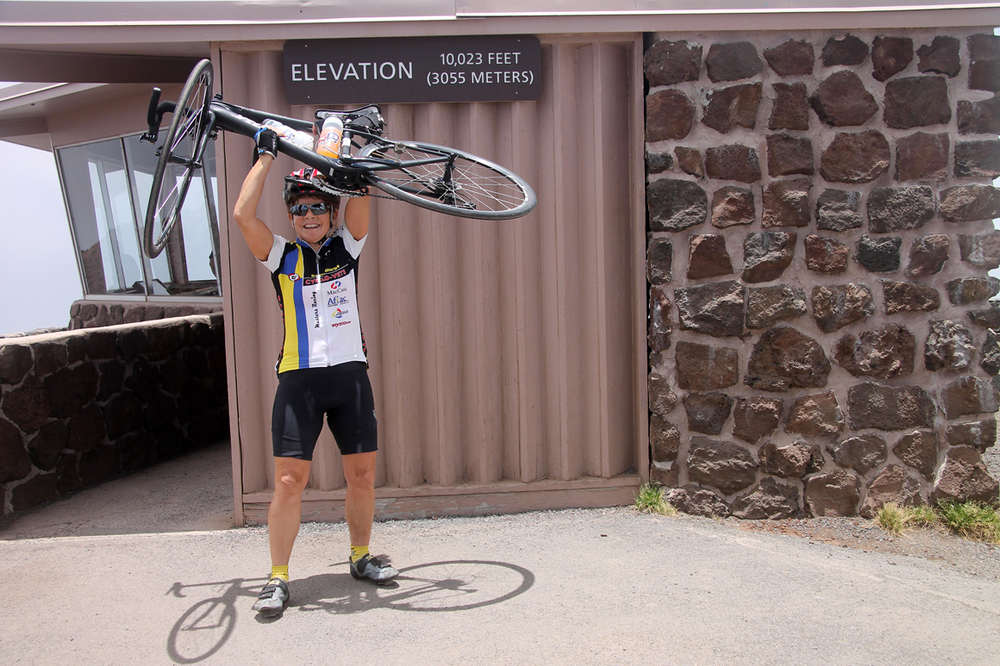 At the top - a wonderful feeling to finish a ride made in tribute to Doc West, a longtime friend.