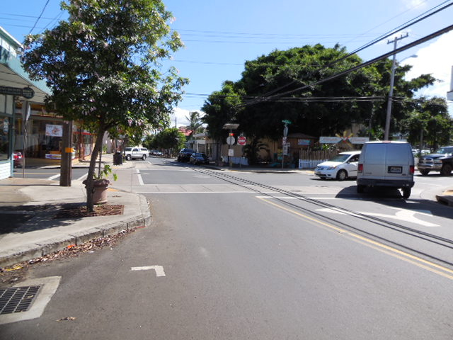 take a right at Vinyard street, up the hill two blocks, take a left on High street. Honoa'piilani Highway 21 miles back to the shop.