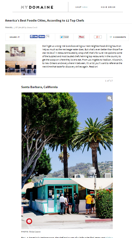 Photo featured on Santa Barbara article on My Domaine! Thanks for the link back credit.