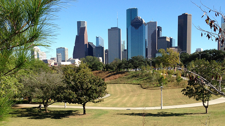 Biking along Houston's crown jewel, the Buffalo Bayou Greenway.