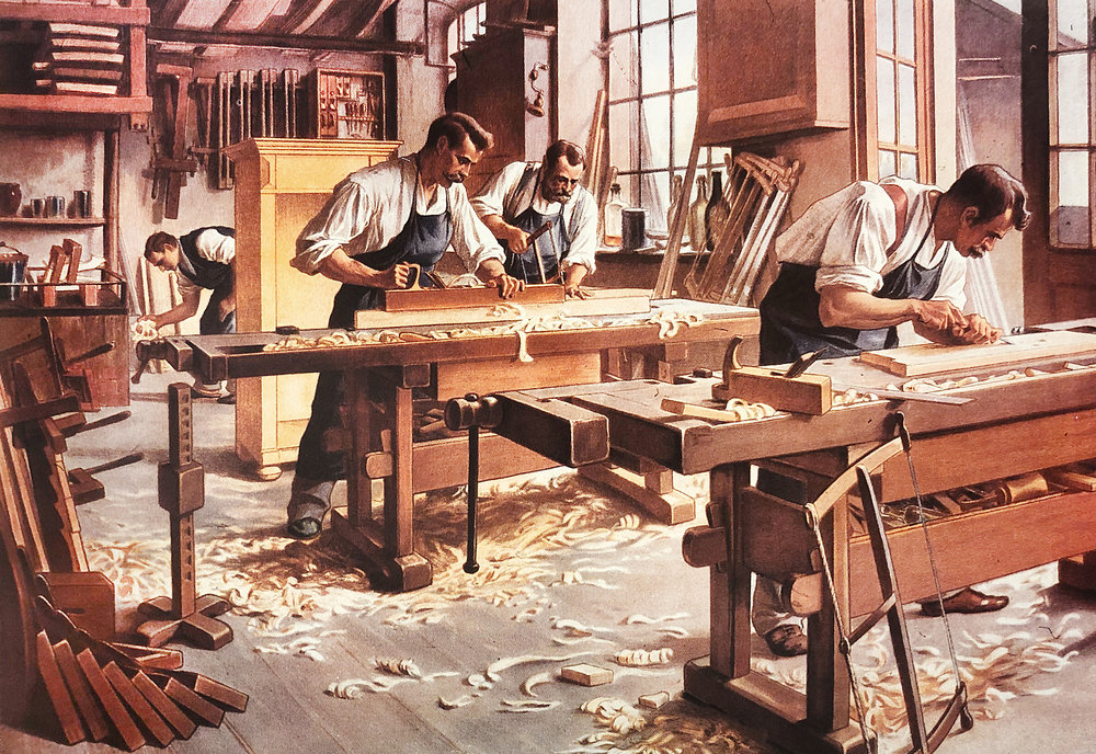 Turn-of-the-century Swedish workbenches. One in a series of 11 educational posters distributed by Gleerup's University Bookshop, Lund, Sweden.