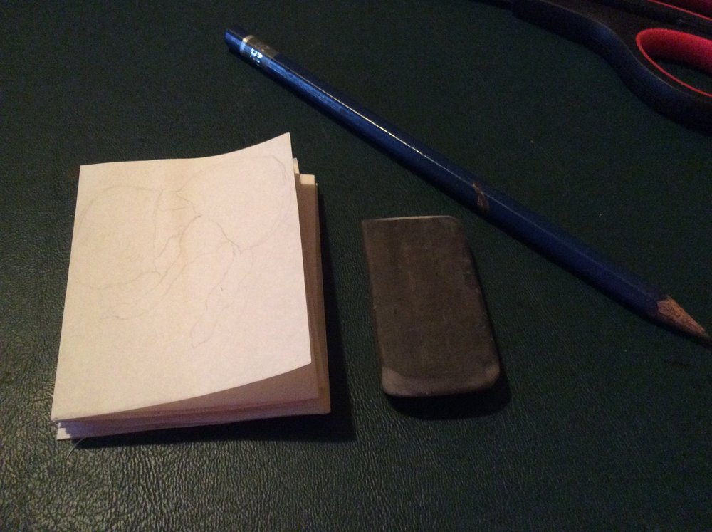 Starting out with just an eraser, pencil and paper. Simple to complex, let's just make a mark first.