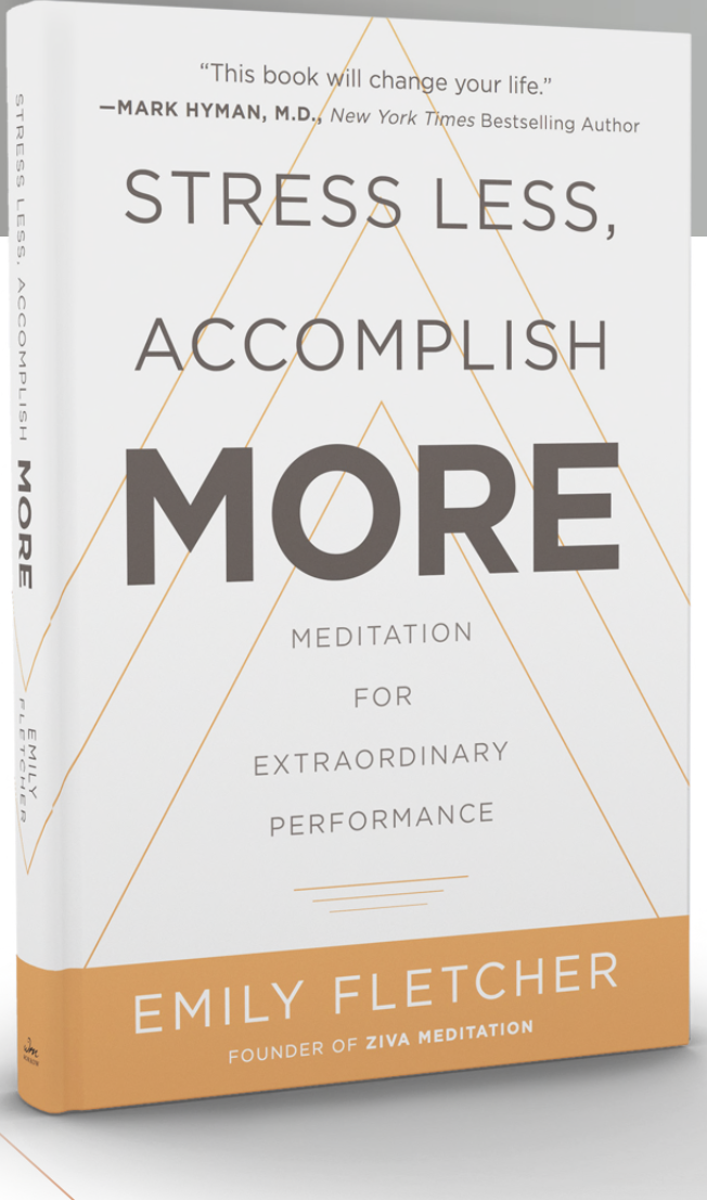 STRESS LESS, ACCOMPLISH MORE - EMILY FLETCHER - A meditation book that focuses on helping you quiet your mind and manifest your goals. Includes an audio with decompressing and energizing talks.
