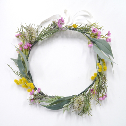 Add a touch of eucalyptus. Summerblossom custom headpiece.