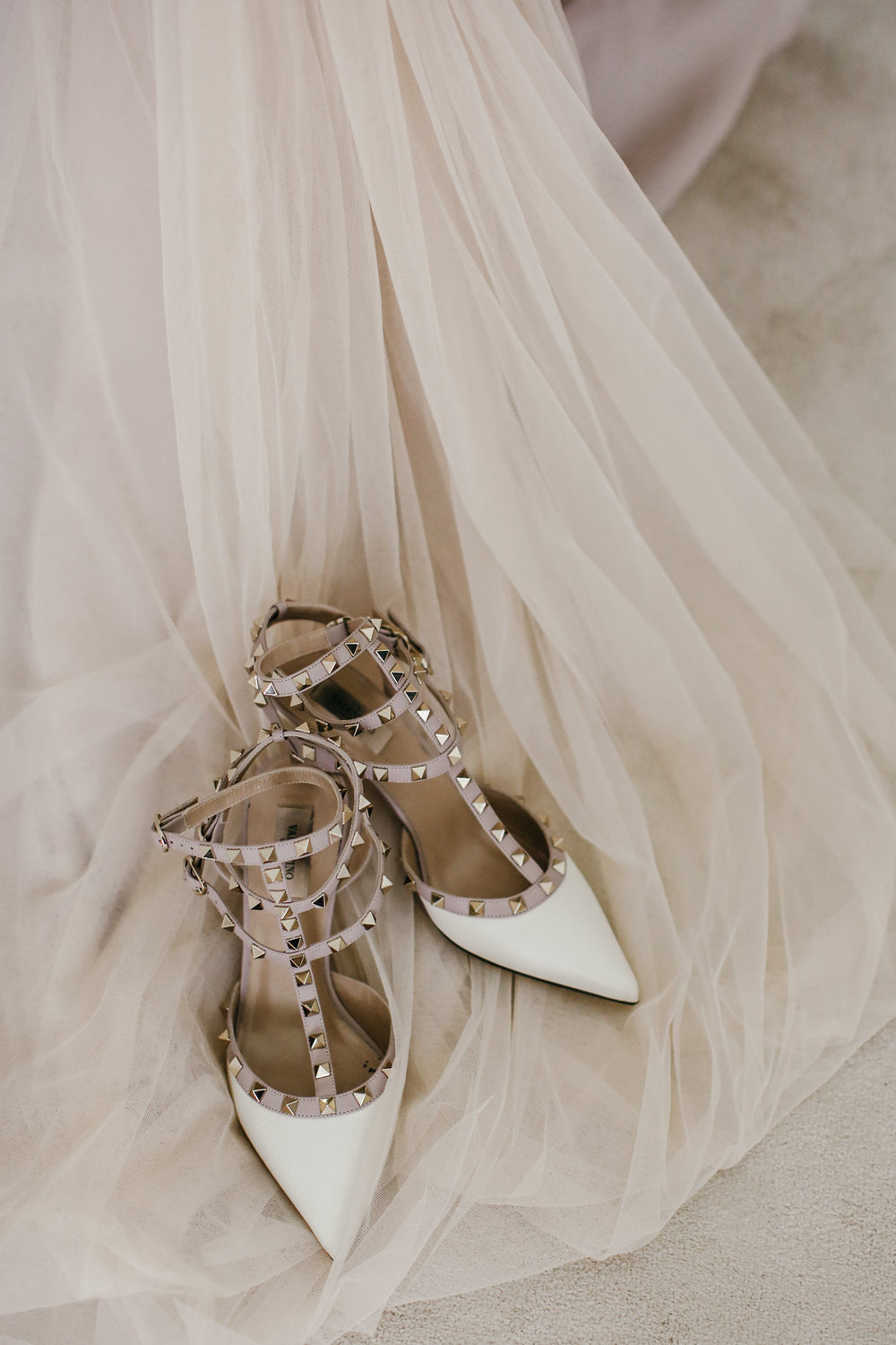 The Brides Shoes (Valentino) and Gown (Moira Hughes Couture)