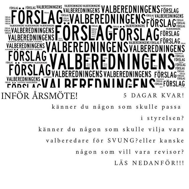 Valberedningen vill informera att det är 5 dagar kvar tills vi stänger möjligheten att nomiera en kompis eller kandidera dig själv!, efter det försätter vi våran arbete för att hitta den bästa möjliga styrelsen för Sveriges Ungdomsråd!  Nominera/Kandider NU!!!! Har du frågor angående vad posterna innebär, vad nominera eller kandidera betyder, skicka gärna in ett mail till valberedning@sverigesungdomsrad.se eller kontakta någon från valberedningen, du hittar oss på Facebook---  Salsabil Mahmoud, Ida Brunskog eller Paula Astrid Castro Moreno //Valberedning