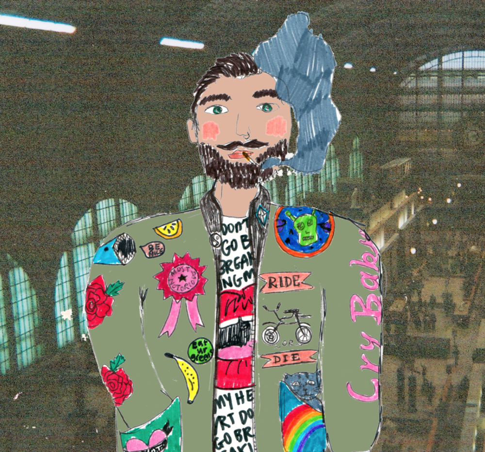 Pierre, in Paris at the Musee D'Orsay (shot on a disposable camera in 2012) Shouldn't be smoking inside, but hey he's the most notorious. Spot the kitten in his pocket, his passion for bicycles, curiosity of space, love of fruit and vegetables, and don't tell him he can't smoke inside he might cry.
