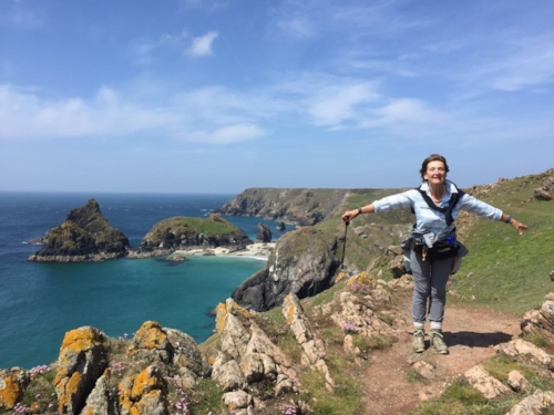 leaning into the wind in Cornwall!