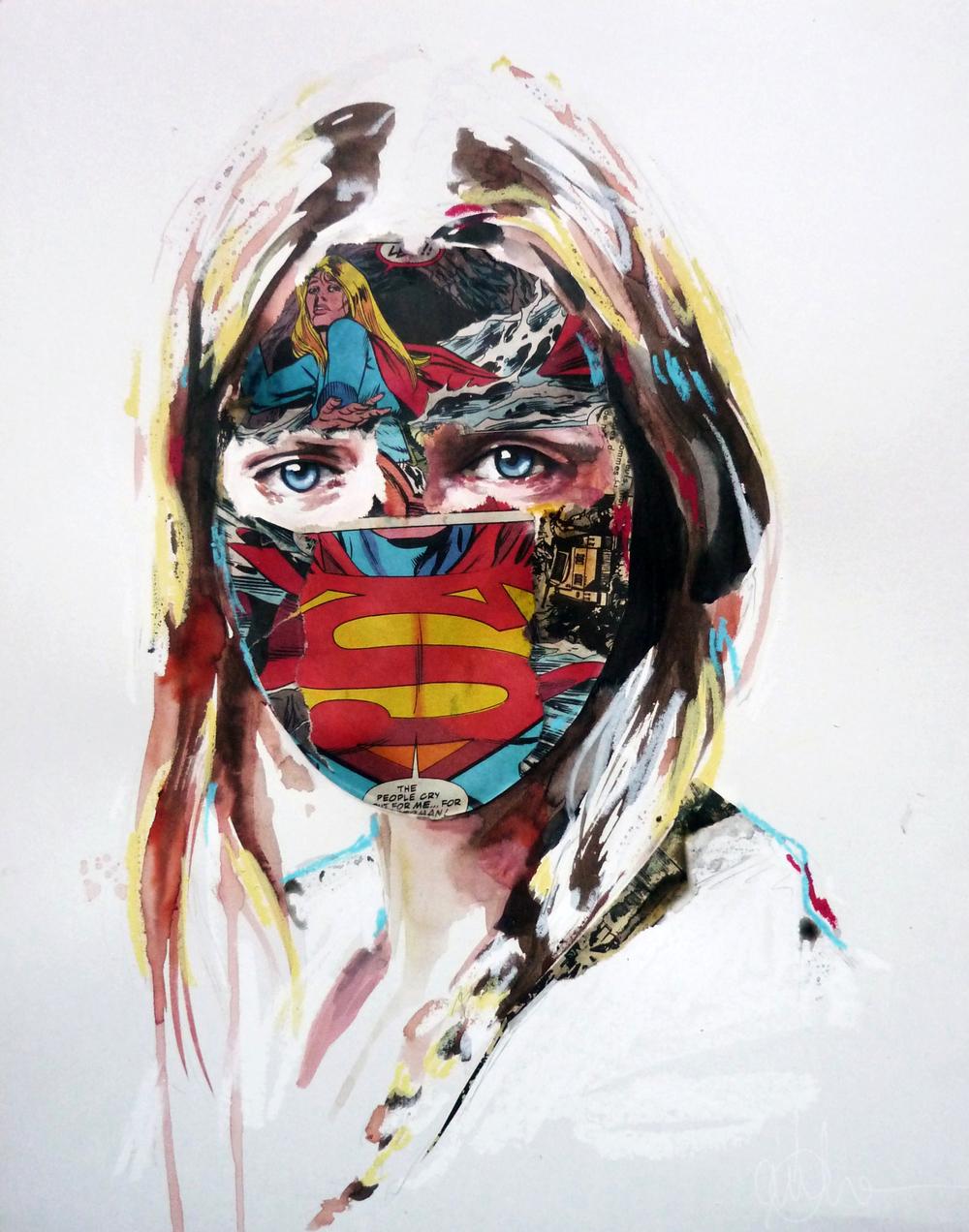 """""""La Cage où les gens pleurent"""", mixmedia 11X14, on paper,2013"""