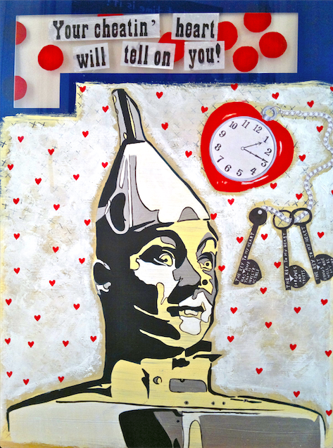 """You're Cheatin' Heart Will Tell On You"" / Acrylics & collage on recycled perspex"