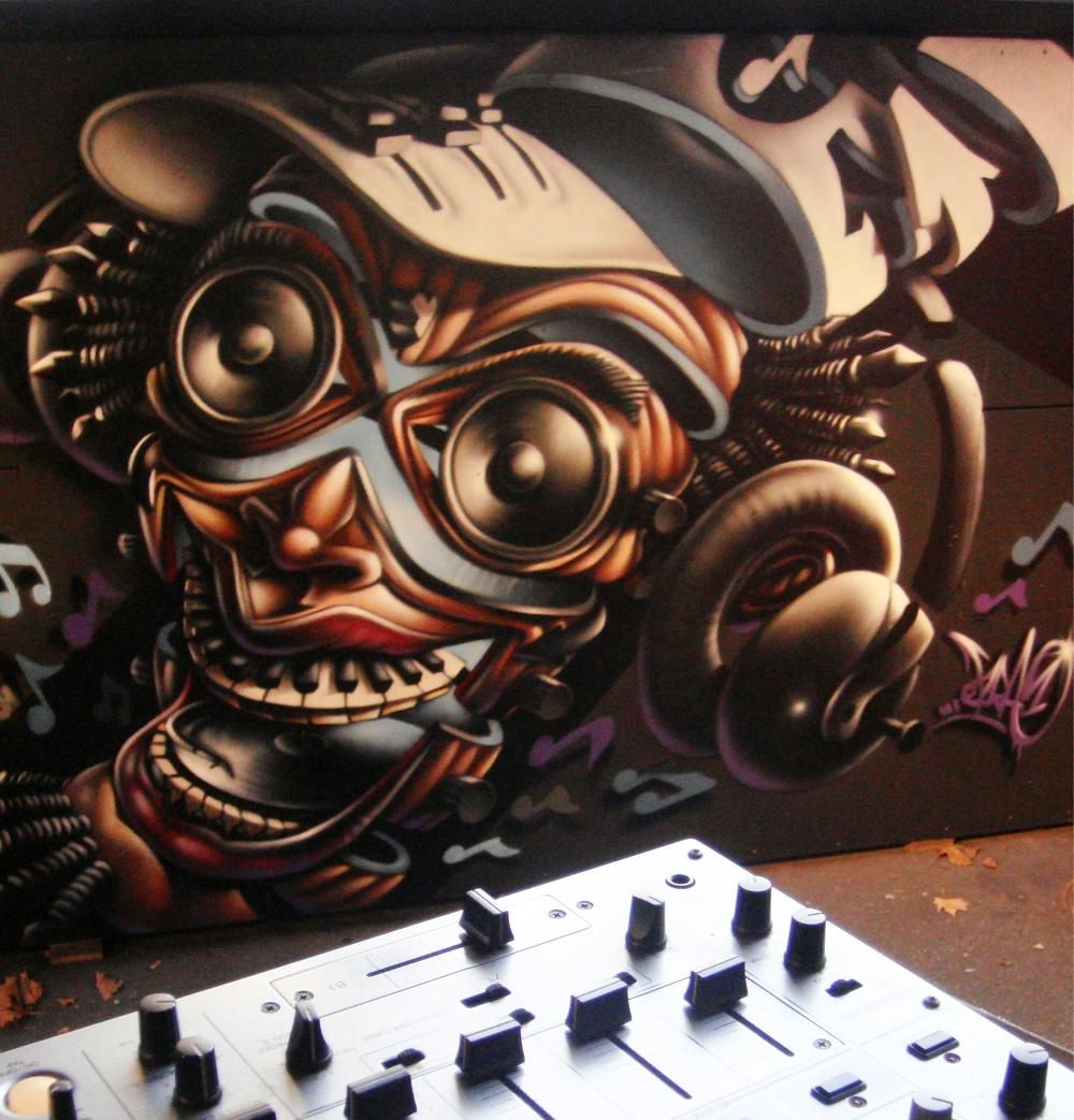 Ezra Baden wall and electronics 2009.jpg