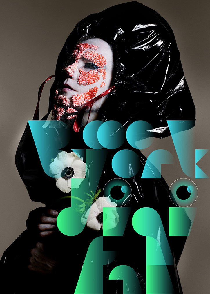 Björk Digital poster: photo by Nick Knight, typography by MMParis