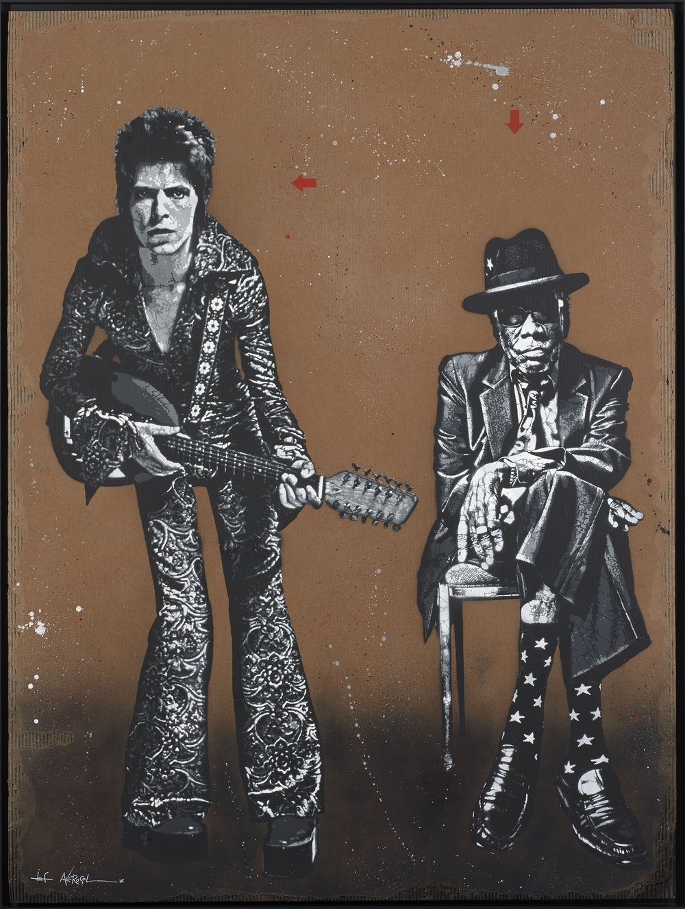 Lot 63 Jef  Aerosol  Ziggy et John Lee 2016 I ©Artcurial  JEF AEROSOL French - Born 1957 Ziggy & John Lee - 2016 Stencil and spray paint on cardboard Height : 200 Width: 150 cm Estimation 10 000 - 15 000 €