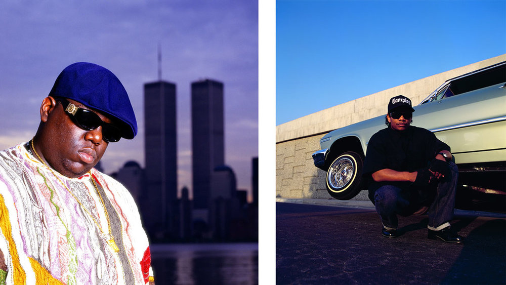 Left: Chi Modu, Biggie WTC, NYC, 1996; Right: Chi Modu, Easy E, Los Angeles, CA, 1994. Images courtesy of the artist.