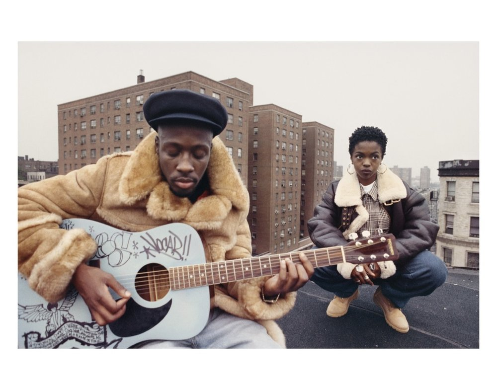 "Lisa Leone, The Fugees: Wyclef Jean and Lauryn Hill during the shooting of the ""Vocab"" video, East Harlem, New York City, 1993. Image courtesy of the artist and HVW8 Gallery."