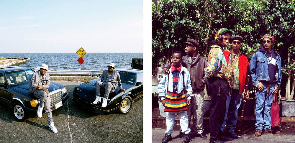 Left: Janette Beckman, EPMD Babylon Long Island, 1989; Right: Janette Beckman, A Tribe Called Quest, NYC, 1990. Images courtesy of the artist.