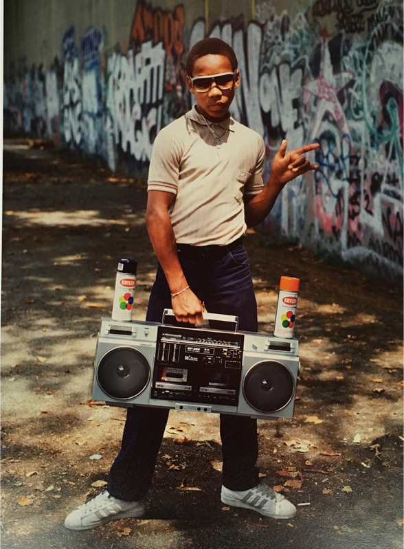Martha Cooper Little Crazy Legs with boom box, 2/15, 1983 StolenSpace Gallery