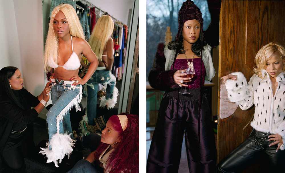 Left: Gillian Laub, Lil Kim getting fitted, 1999; Right: Gillian Laub, Da Brat and her girlfriend. Images courtesy of Benrubi Gallery.