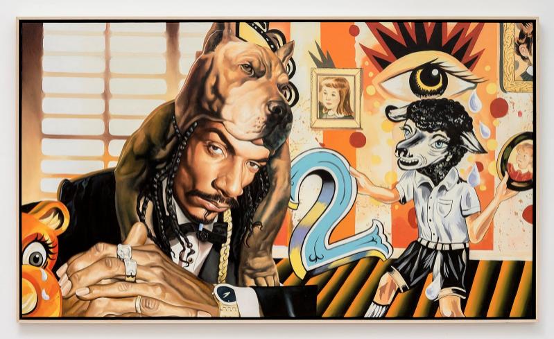 """""""Dogman"""" 2012   Alkyd paint on canvas  / Peinture glycérophtalique sur toile   35 13/16 x 59 7/16 in  / 91 x 151 cm  Unique"""