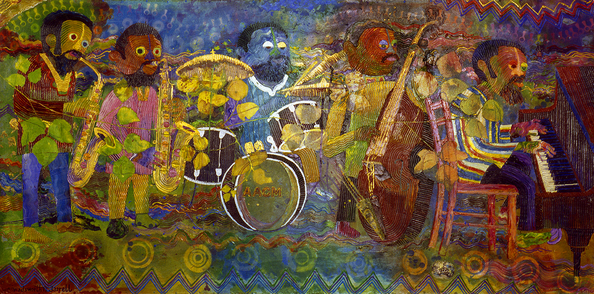Wadsworth Jarrell,  AACM , 1994. Acrylic on tempered Masonite. 48 x 96 inches.