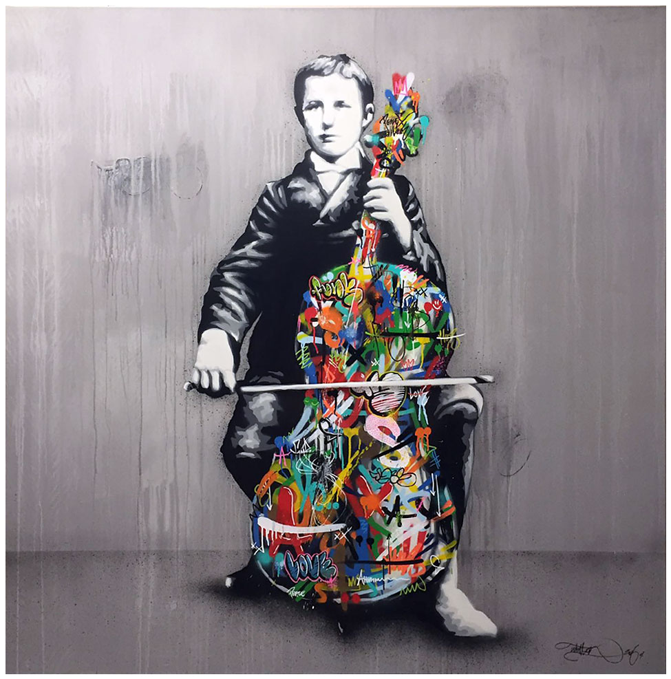 MARTIN WHATSON – CELLO PLAYER Media: Spray paint and acrylic on canvas Size: 67 x 67 x 2 Inches Edition: 1/1 Year: 2016