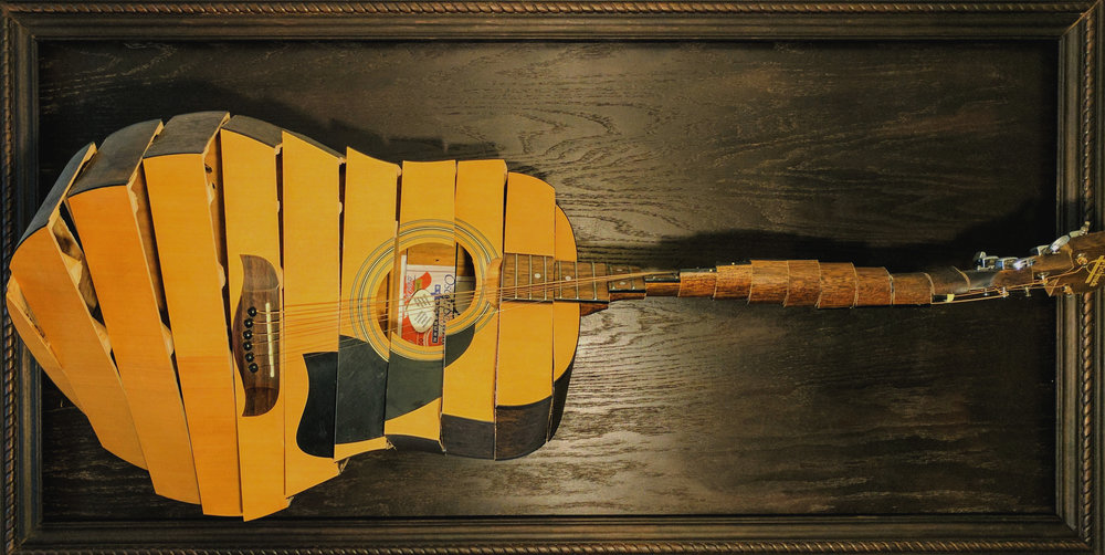'Full Turnaround'  Broken acoustic guitar, Mixed Media.2016