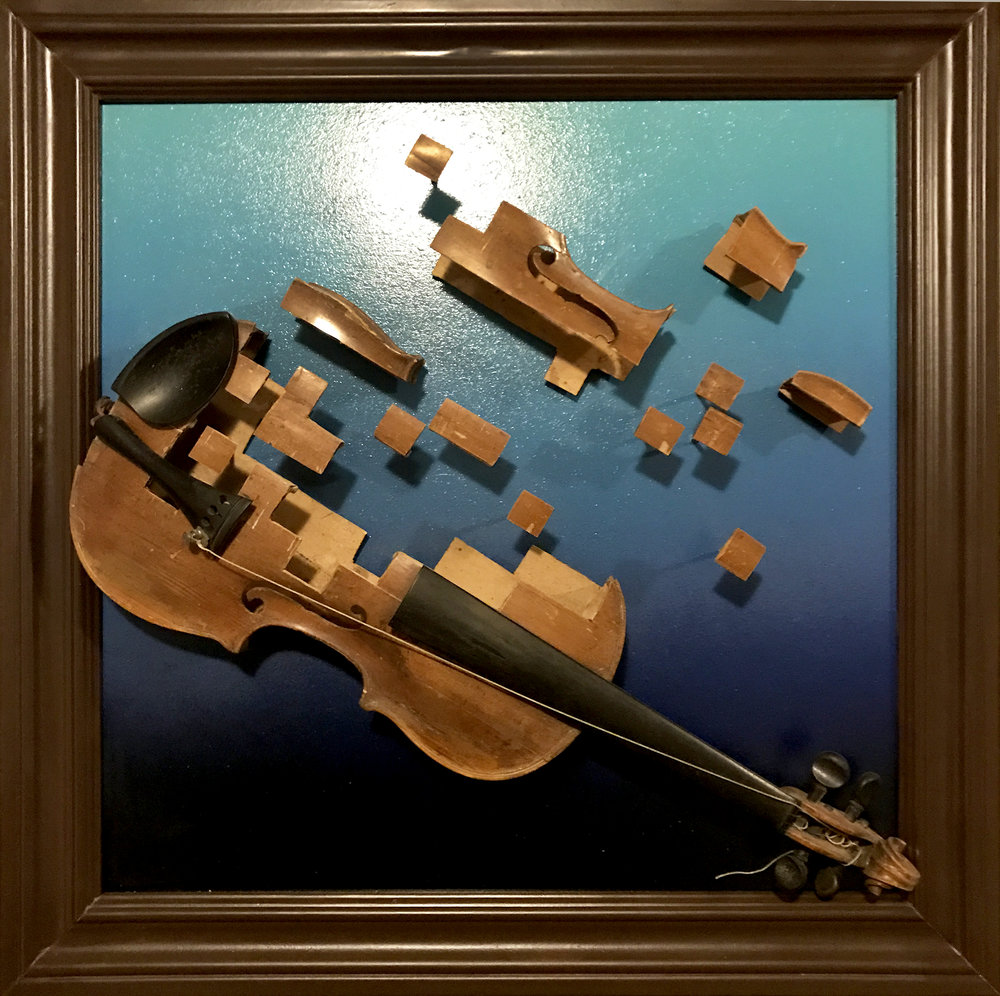 Untitled  Broken Violin, Mixed Media. 2015  Private commission for Andrew Joslyn (Macklemore)